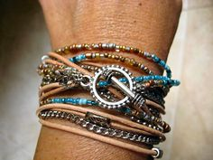 """Boho Chic Endless Leather and Chain Wrap Beaded Bracelet...Palm Beach Edition....""""FREE SHIPPING"""""""