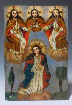 """Antique Mexican Tin Lamina Retablo """"The Crowning of The Virgin Mary"""" 19th C 
