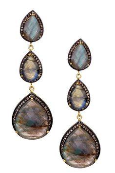 Rivka Friedman - Limited Edition Champagne Diamond & Labradorite Triple Teardrop Earrings