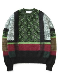 Mohair+Jacquard+Knit+Pullover+(green)