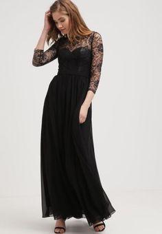 Rochie lunga de ocazie neagra cu maneci dantela