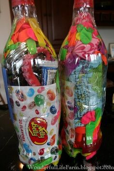 Fill an empty soda bottle with fun kid-loving treats, tape securely, and mail!  Sure way to delight a child!  Wonderful Life Farm: Cool Aunt Points