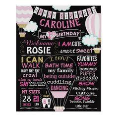 Hot air balloon first birthday chalkboard sign - birthday gifts party celebration custom gift ideas diy