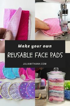 Make your own Reusable Face Pads - - Sustainability matters. These Reusable Face Pads are one way of being more mindful about our choices. And they are so easy and quick to make, you can whip up a whole bunch in no time! Easy Sewing Projects, Sewing Projects For Beginners, Sewing Hacks, Sewing Tutorials, Sewing Crafts, Sewing Tips, Sewing Ideas, No Sew Projects, Scrap Fabric Projects
