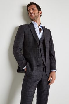 Moss Esq Regular Fit Grey with Blue Check Jacket Blue Check Suit, Pastel Shirt, Brown Derby, Checked Suit, Fitted Suit, Derby Shoes, Jacket Buttons, Esquire, Suit Jacket