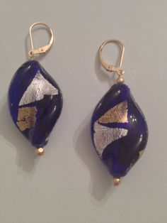 Blue Murano Glass Twisted Leaf Earring by AmetistaDesigns on Etsy