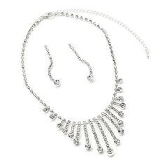 #jewelry Silver Crystal Rhinestone 1 Strand Row Dangle Earrings & Long Multi String with Rhinestone Tip Necklace Jewelry Set