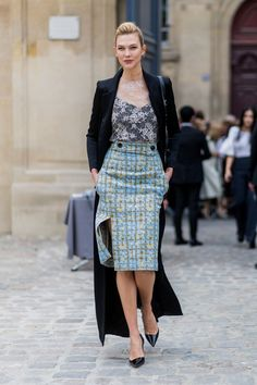 The pencil skirt gets a much-appreciated update when you bring mixed-prints into the equation.