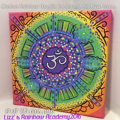 Beautiful square canvas Acrylic Art. Chakra. Namaste. Rainbow. All. The. Things!   www.lizzsrainbowacademy.etsy.com