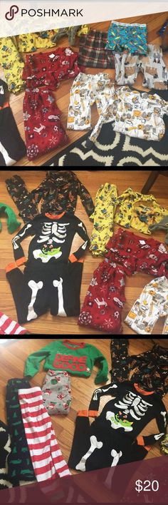 Boys pajamas sets toddler All great condition. 6 complete sets with extra pants . 18 pieces total size 3t with one 4t. Brands are carters children's place candlestick circo minions and a scoobydoo childrens place  Pajamas