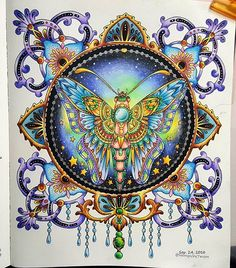 Magic crystal moth and diamonds Full Diamond Embroidery Cross Diamond mosaic DIY Round Stick Drill Drawing Resin Craft Painting Coloring Book Art, Coloring Tips, Colouring Pages, Adult Coloring Pages, Hanna Karlzon, Caran D'ache, Colored Pencil Techniques, Pastel Background, Butterfly Art