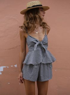 Plaid Spaghetti Strap Bow Ruffle Top Shorts 2 Piece Outfit | victoriaswing