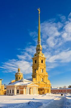 The Cathedral of Ss Peter and Paul, the oldest church in St. Petersburg, is located within the Peter and Paul Fortress. The cathedral was built under the direction of Tsar Peter I in the early eighteenth century and became the burial place for members of the Romanov dynasty. The original wooden church was the first church in the city of St. Petersburg where it remained as the current stone church was built around it.