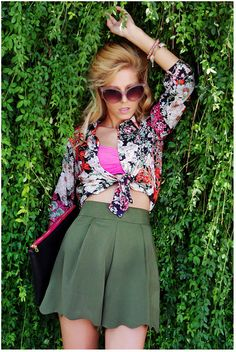 High wasted shorts with a floaty blouse - so stylish.   from ASOS by Sirma Markova