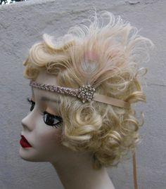 Ivory Peacock Feather, Swarovski Crystal, 1920s Flapper Headband, Hair Accessory, Great Gatsby, Costume Headpiece Gatsby Style, Flapper Style, 1920s Flapper, Flapper Headband, Headband Hair, Fascinators, Headpieces, Halloween Ideas, Halloween Costumes