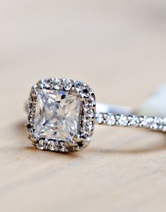 Wilson Diamonds: Ring Style Number R5472E #cushionhalo