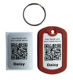 QR barcode dog tag from DogHeirs. If your dog gets lost, the finder can scan the barcode and get your information instead of having to take your dog to the vet to check for a microchip.