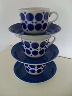 Pop (blue) Coffee cups & saucers from Arabia, Finland. Blue Coffee Cups, Coffee Cups And Saucers, Cup And Saucer, Tea Cups, Ceramic Tableware, Kitchenware, Blue And White Dinnerware, Plates And Bowls, Drinking Tea