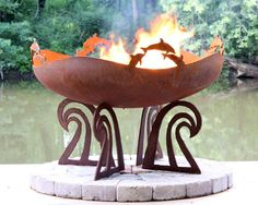 Love this one! Ocean Fire - Dolphin Custom Steel Fire Pit designed by my daughter Melissa Crisp