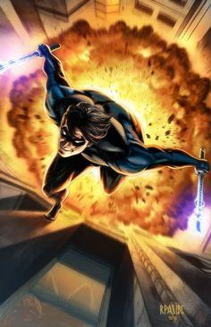 Nightwing by Ryan Pasibe and Tots Valeza Awesome perspective :D Robin Dc, Batman Robin, Dc Comics Art, Marvel Dc Comics, Batwoman, Batgirl, Nightwing And Starfire, Univers Dc, Superhero Villains