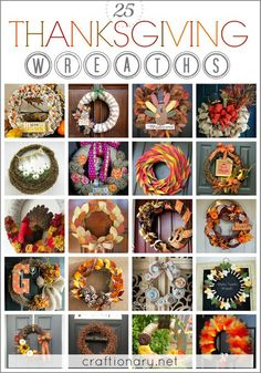 Best THANKSGIVING wreaths to make for decorating home with burlap, tulle, mesh and paper wreaths with thankful and give thanks banners. DIY turkey wreaths