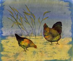 Chickens on Silk original batik on silk by CarolynDoeDesigns, $500.00