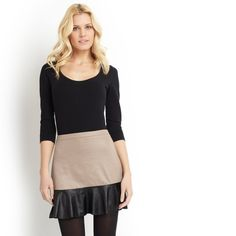 Ladies Faux Leather Ruffle Skirt