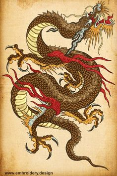 Brown Dragon embroidery design Brown Dragon embroidery design by EmbroSoft on Etsy Japanese Prints, Japanese Art, Cosplay Steampunk, Embroidery Designs, Chinese Dragon Tattoos, Japanese Tattoos, Mythology Tattoos, Chinese Mythology, Art Asiatique