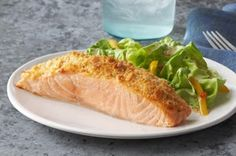 Parmesan Baked Salmon Recipe - Kraft Recipes Mayo, Parmesan and a RITZ Cracker coating make this baked salmon dish irresistible. Salmon Dishes, Fish Dishes, Seafood Dishes, Fish And Seafood, Baked Salmon Recipes, Fish Recipes, Seafood Recipes, Cooking Recipes, Healthy Recipes