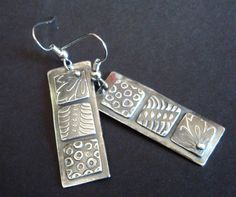 Fine Silver Patchwork Earrings PMC Textured by Silvermaven, $36.00 Mixed Metal Jewelry, Metal Clay Jewelry, Polymer Clay Jewelry, Jewelry Art, Jewlery, Delicate Jewelry, Silver Jewellery, Rolling Mill, Precious Metal Clay