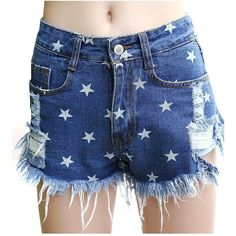 Yoins Navy Rip Fringe Denim Shorts In Star Print ($16) ❤ liked on Polyvore featuring shorts, blue, striped shorts, navy shorts, denim short shorts, ripped shorts and distressed shorts