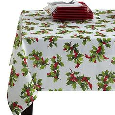 White//Green//Red//Gold Homewear HOLIDAY BERRY Easy Care Printed Jacquard 72 Table Runner