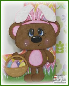 Roxy at Easter SVG paper piecing set from www.digitaldelightsbyloubyloo.com. Frame created by Jennifer Juers