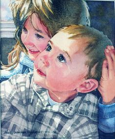 Mary Sorrows Hughes Home Page Watercolor Portraits, Watercolor Paintings, Portrait Paintings, Watercolors, Painting People, Painting For Kids, Cool Art, Awesome Art, Learn To Paint