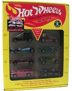 1993 Hot Wheels 25th Anniversary Collector's Editon of 8 Authentic Commemorative Replicas by Mattel. $55.98. 25th Anniversary Set. 1:64. Authentic Commemorative Replicas. Exclusive Colors!. Paddy Wagon, Twin Mill, Splittin' Image, Classic Nomad, Red Baron, Beatnik Bandit, The Demon, Silhouette