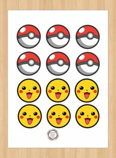 Instant Download Pokemon Birthday Cupcake Toppers/ Stickers/ Labels/ Favors…: