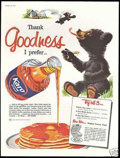 Honey Bee Bear Cub Karo Syrup Pancakes (1958)  I worked on this brand at Bestfoods in the early 80's ... we always did recipe promotions and ads, Marcie Fleischman
