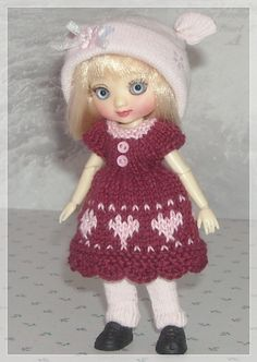 Amelia Thimble Dolls Burgundy Fair Isle Dress by JCsTinyTreasures, $25.00
