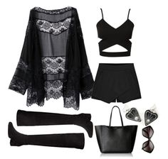 summer boho goth outfit. Stylish black alternative fashion for the beach. Click to find these pieces online!