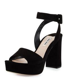 Suede Platform Ankle-Wrap Sandal, Nero - Miu Miu