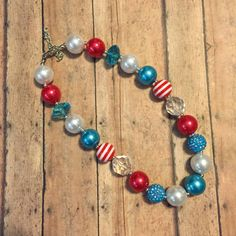 Turquoise and Red Chunky Necklace, bubblegum necklace, Child necklace, Birthday, baby necklace, child,  4th of July, Dr. Seuss by BBgiftsandmore on Etsy