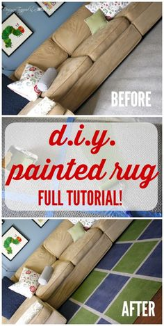 THIS IS AWESOME! Learn how to paint a rug for a high end look on a tiny budget. Full tutorial from Designer Trapped in a Lawyer's Body! Furniture Making, Diy Furniture, Bedroom Furniture, Inexpensive Rugs, Homemade Rugs, Painted Rug, Diy Cutting Board, Floor Cloth, Shabby Chic Bedrooms