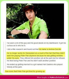 """This is actually really sad."" I never got to visit him in the parks. I find his legacy not sad, but rather incredible. Andrew Ducote is incredible and inspirational. Disney may have taken his tights, but Ducote will always be Peter."