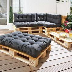 Seat cushions for Euro pallets anthracite) - Danish bed storage - Sitzkissen Palette - Decor Pallet Garden Furniture, Balcony Furniture, Furniture Ideas, Lawn Furniture, Furniture Stores, Furniture Design, Sofa Ideas, Wooden Furniture, Furniture Makeover