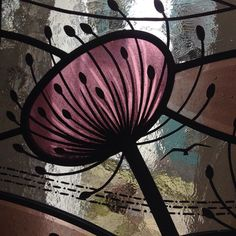 Stained glass window with seed heads design by Flora Jamieson | florajamieson.co.uk