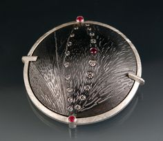 Vestigia II--Brooch  Silver, copper, lab grown ruby