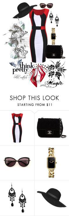 """SheIn(sheinside) Sleeveless Bodyform Color-block Slim Dress"" by lekhamathias ❤ liked on Polyvore featuring Chanel, Miu Miu, Wildfox, Topshop, Sheinside and lekhamathias"
