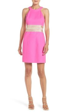 Free shipping and returns on Lilly Pulitzer® 'Ashlyn' Lace Waist Silk Shift Dress at Nordstrom.com. Textured silk pops with a bright pink hue on this contemporary shift dress that accentuates your waist with shimmery gold lace.