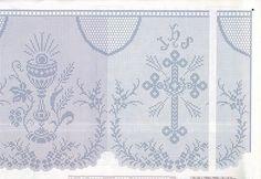 Filet crochet - Majida Awashreh - Álbuns da web do Picasa Bobbin Lace Patterns, Cross Stitch Patterns, Fillet Crochet, Crochet Curtains, Diy And Crafts, Religion, Tapestry, Embroidery, Knitting