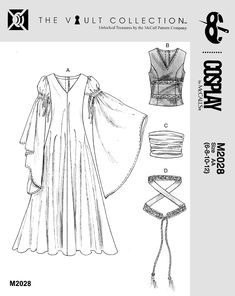 McCalls M4492 / M2028 - Medieval / 12th Century / Lord of the Rings / Eowyn Costume Pattern - Eowyn's Encampment dress from Return of the King, except Eowyn's vest is curved on the bottom, and that's where the lower trim is, made of 3 bands instead of 1 like the upper. Her sleeve is split and ruched at the front, and the underdress peeks out from under the vest, and is buttoned or hooked down the middle.